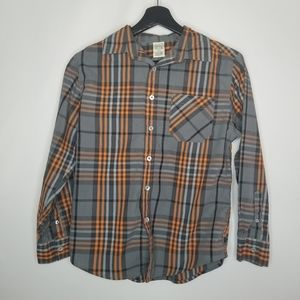 Faded Glory Gray & Orange Plaid Button Down Shirt